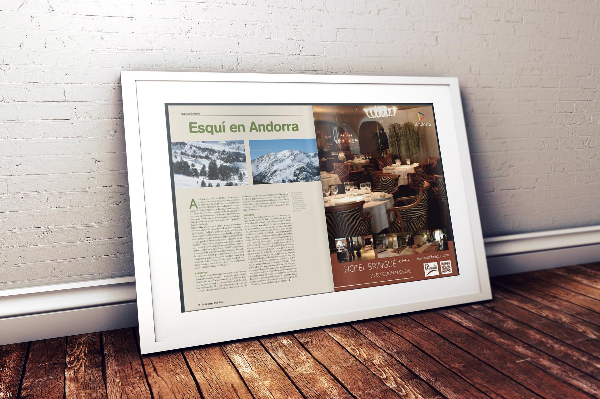 Diseño del Anuncio publicitario para la Revista David Lloyd del Hotel Bringué****